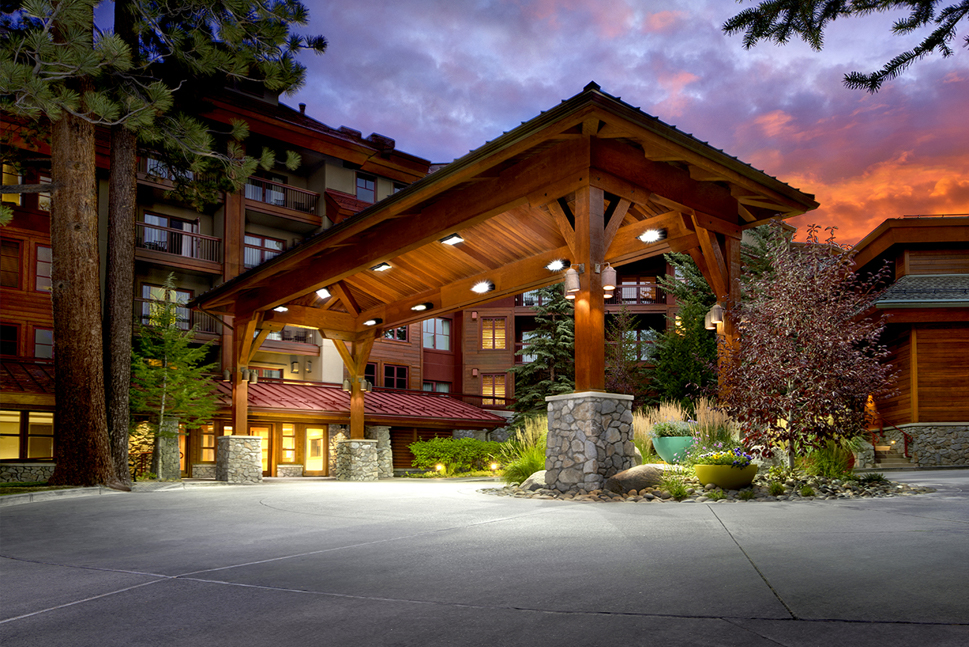 View of Grand Residences by Marriott in South Lake Tahoe with a colorful sunset sky.